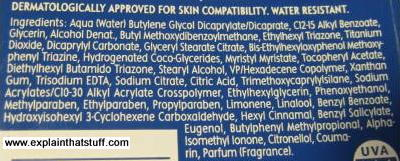 Back of sunscreen bottle listing chemical ingredients