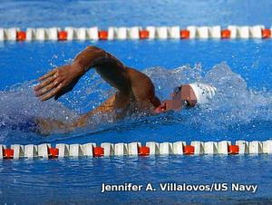 Photo of a swimmer breathing to the side.