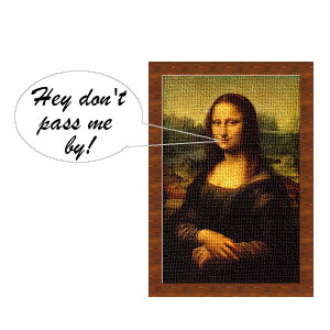 Mona Lisa talking from a speech bubble