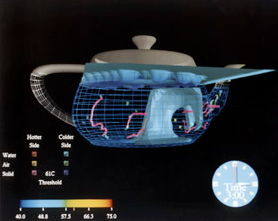 A computer model of temperature and fluid flow in a teapot.