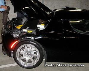 Side view of Tesla Roadster car showing battery compartment. Photo by Steve Jurvetson.