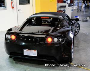 Back view of Tesla Roadster electric car. Photo by Steve Jurvetson.