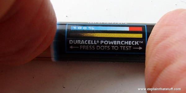 Thermochromic tester on a small Duracell battery.