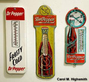 Three Dr Pepper-themed thermometers containing red alcohol. Photo by Carol M. Highsmith.