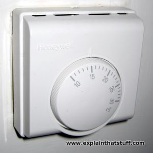 Honeywell wall thermostat temperature control.