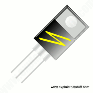 Thyristor: Clip-art style illustration of a black and silver thyristor package.