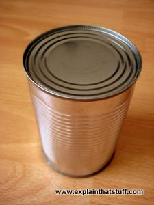A tinplate steel can food container.