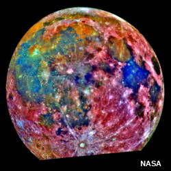 NASA false color photo of moon showing titanium