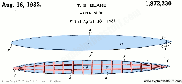 Tom Blake's 1932 patent for a water sled (hollow, internally braced surfboard).