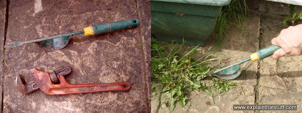 Two examples of tools that work with levers: a pipe wrench and a fulcrum garden weeder