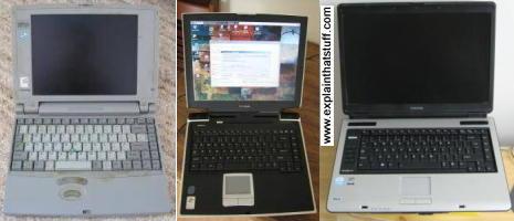 Three Toshiba laptops from 1996 to 2007. Left: Toshiba Satellite Pro 400 CDT laptop computer, 1996. Middle: Satellite Pro A10 laptop, 2004. Right: Satellite Pro laptop computer, 2007