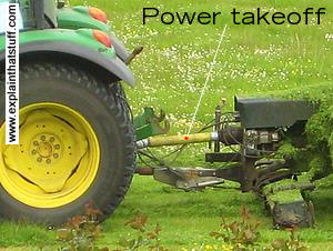 Power takeoff on a John Deere tractor connected to a grass mower.