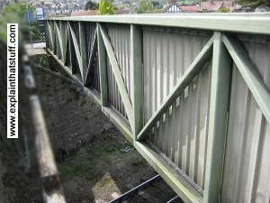 Truss bridge over a railway line