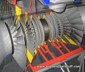 Closeup cutaway model of a steam turbine showing blades and stages.