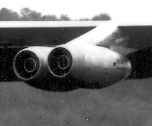 Turbojet engines on a Stratofortress airplane