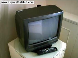 A small cathode ray tube (CRT) TV set in a hotel room.