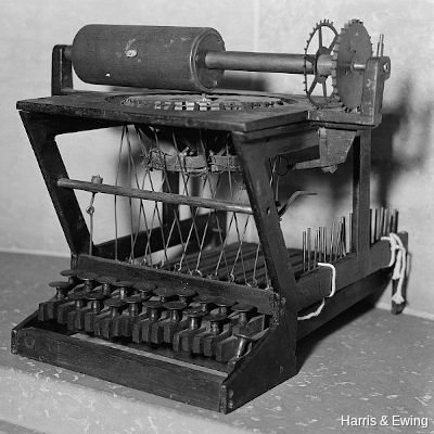 Original 1896 patent drawing of the typewriting machine by Christopher Latham Sholes