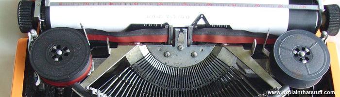 Closeup of typewriter ribbon mechanism
