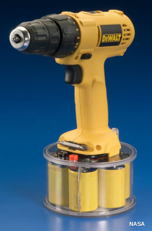 A cordless electric drill powered by ultracapacitors.