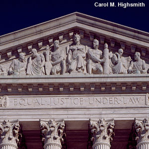 Motto above the US Supreme Court reading Equal Justice Under Law