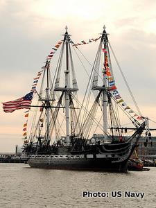 USS Constitution pictured in port in October 2010 with celebratory bunting on her masts during her 213th anniversary.