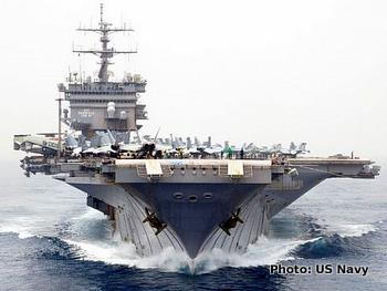 Aircraft carrier USS Enterprise seen directly from the front