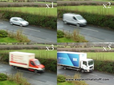 Four different-sized vehicles with different momentum compared.