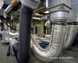 Ventilation ducts in a large building.