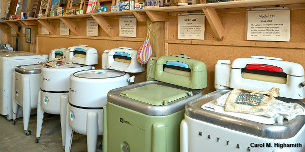 Vintage Maytag washing machines at Lee Maxwell's Washing Machine Museum in little Eaton, Colorado. Photo by Carol M. Highsmith