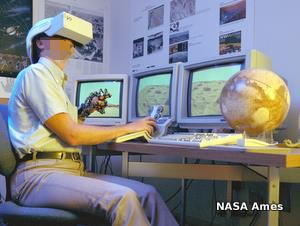 A NASA Ames scientist explores Mars using a virtual reality headset, data glove, and desktop controller.