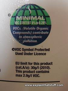 Minimal VOC warning label on a paint can.
