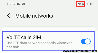 VoLTE icon and settings on a Samsung mobile cellphone.