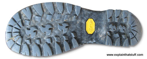 Grip on the sole of a walking boot