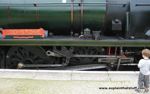 Walschaerts valve gear on Rebuilt West Country Class 34028 Eddystone.