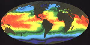 Global sea surface temperature map from NASA on the Commons