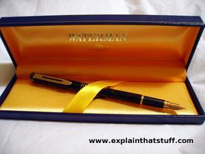 A Waterman Ideal lacquered fountain pen dating from around 1990, pictured in its presentation case.