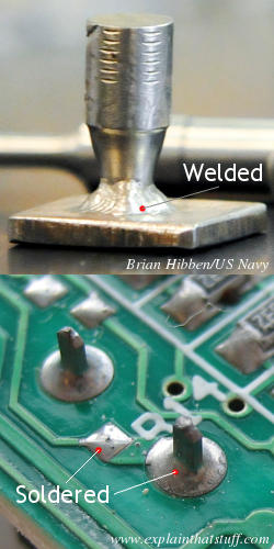 A welded joint between two pieces of metal compared with a soldered joint on a circuit board.