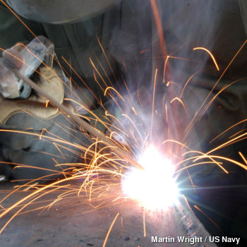 Welding steel and making sparks