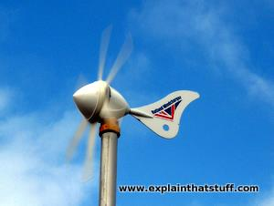 Rutland Windcharger 914 micro wind turbine against blue sky.