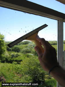 Cleaning a window by hand with a squeegee.