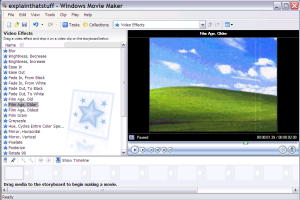 Applying visual effects to a movie with Movie Maker in Windows XP