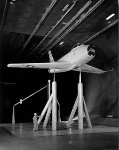Airplane in a wind tunnel