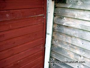 A fence before and after treatment with preservative.