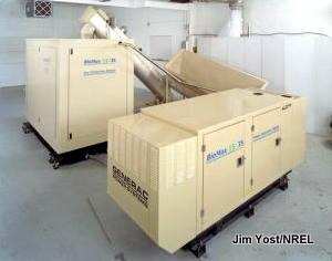 A compact combined heat and power (CHP) woodchip gasification engine.