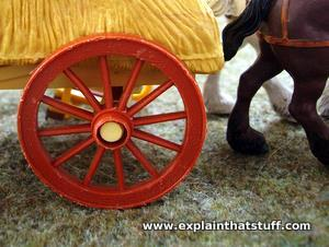 Wooden wheel on a toy farm cart