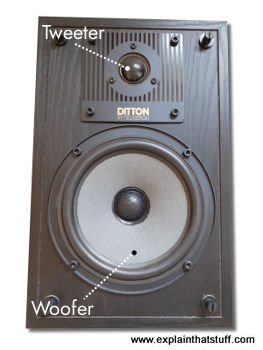 Celestion Ditton 100 loudspeakers with grille removed, showing the woofer and the tweeter