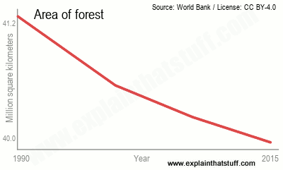 Line chart showing chance in world forest cover between 1990 and 2015.