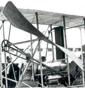 Closeup of the propeller mechanism in the 1908 Wright Flyer.