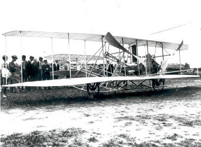 Wright Brothers Flyer pictured in 1908.