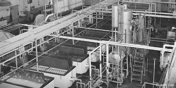 A milk pasteurizing plant from 1941. Photo by Russell Lee.